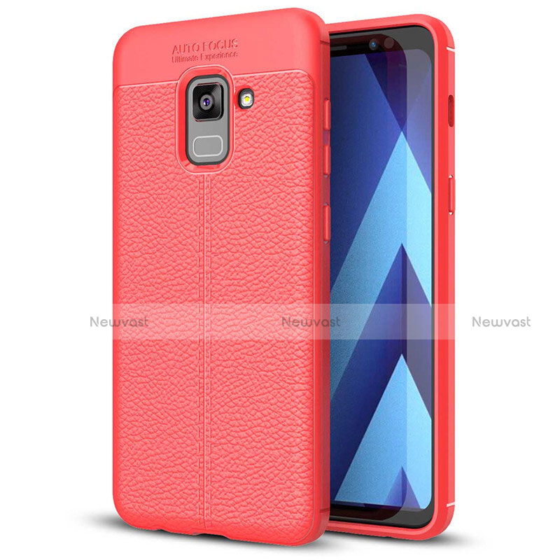 Soft Silicone Gel Leather Snap On Case for Samsung Galaxy A5 (2018) A530F Red