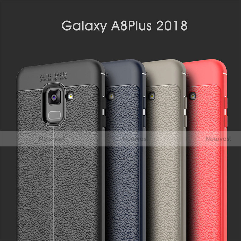 Soft Silicone Gel Leather Snap On Case for Samsung Galaxy A8+ A8 Plus (2018) A730F