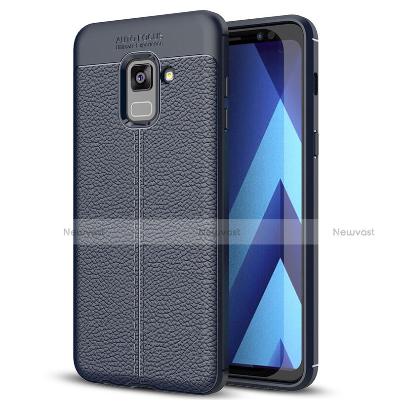 Soft Silicone Gel Leather Snap On Case for Samsung Galaxy A8+ A8 Plus (2018) A730F Blue