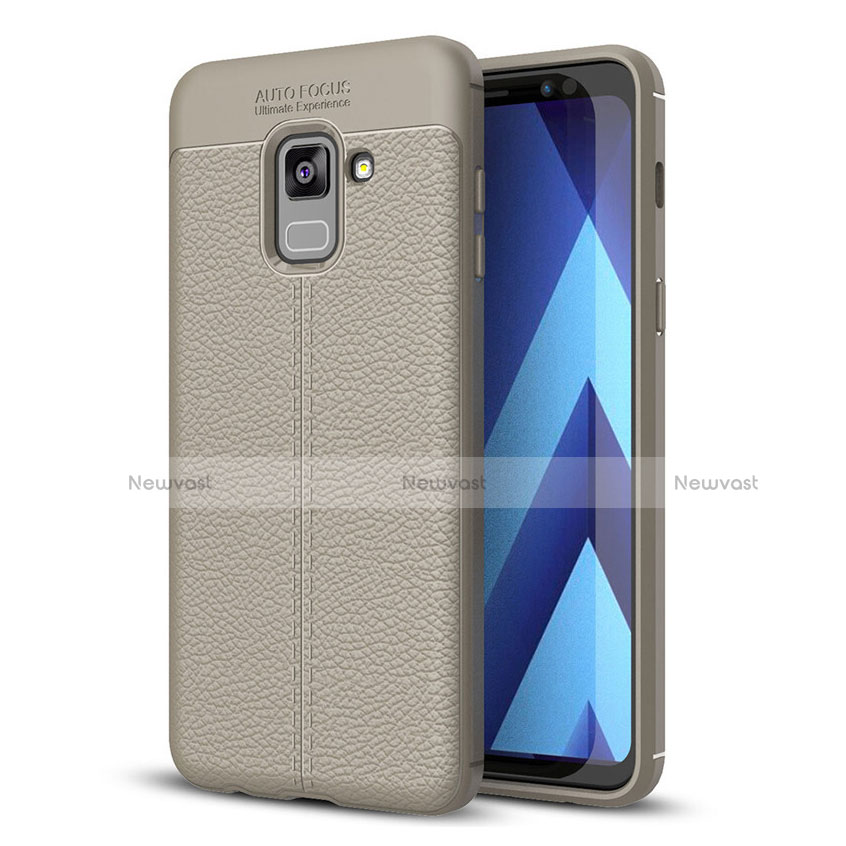 Soft Silicone Gel Leather Snap On Case for Samsung Galaxy A8+ A8 Plus (2018) A730F Gray