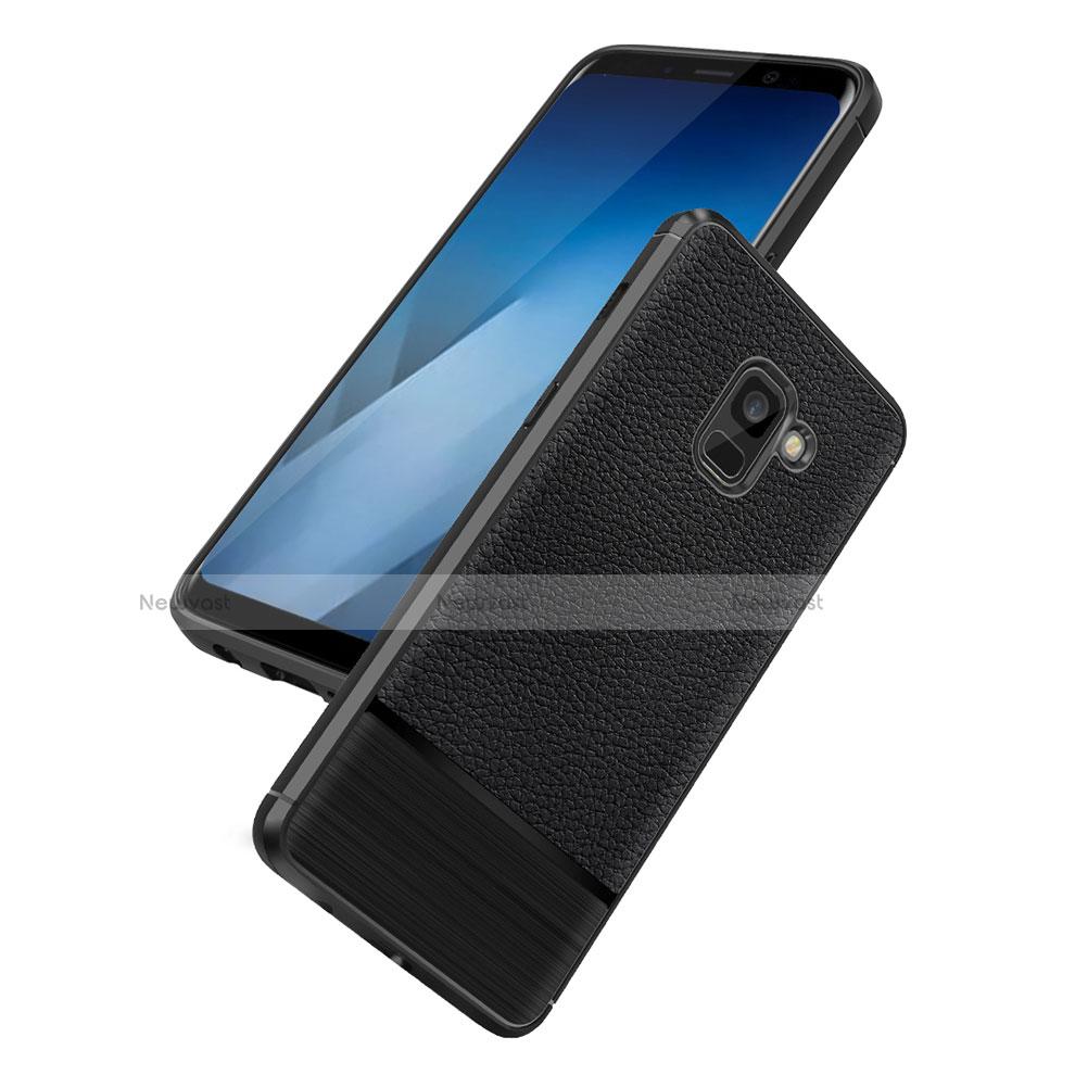 Soft Silicone Gel Leather Snap On Case Q01 for Samsung Galaxy A5 (2018) A530F Black