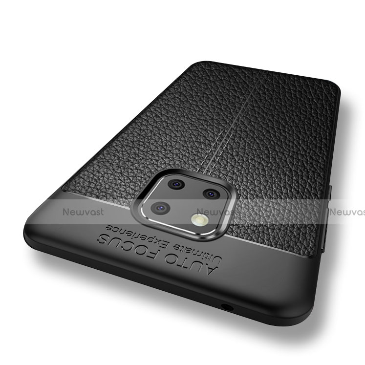 Soft Silicone Gel Leather Snap On Case W01 for Huawei Mate 20 Pro Black