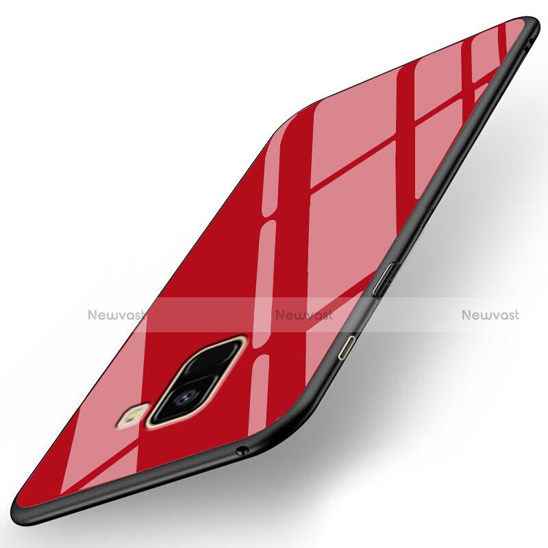 Soft Silicone Gel Mirror Case for Samsung Galaxy A8+ A8 Plus (2018) A730F Red
