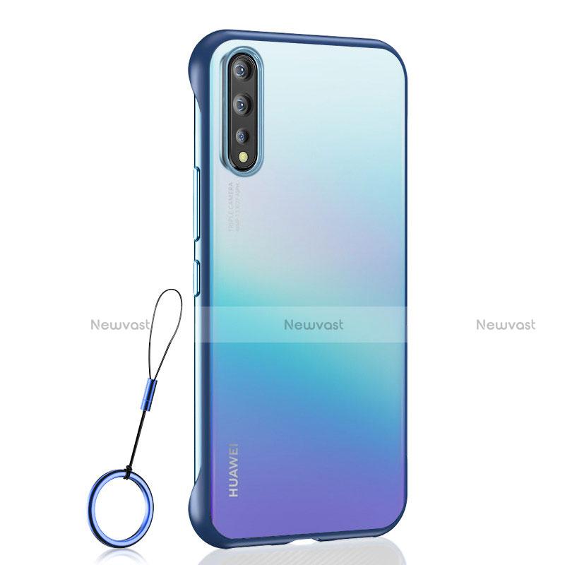 Transparent Crystal Hard Case Back Cover H02 for Huawei Enjoy 10S Blue