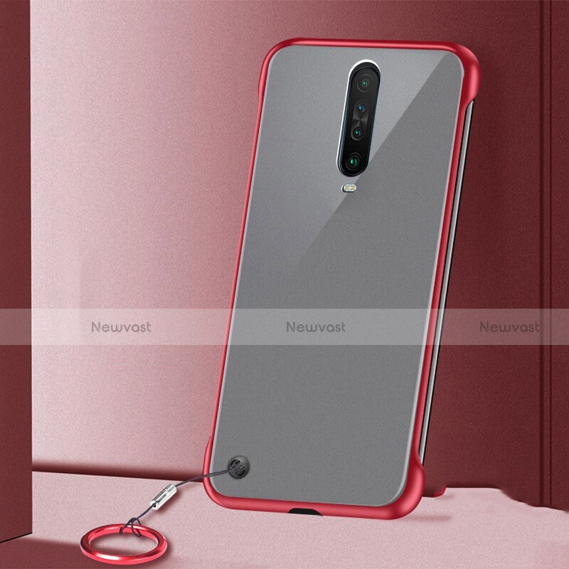 Transparent Crystal Hard Rigid Case Back Cover H01 for Xiaomi Redmi K30 5G Red