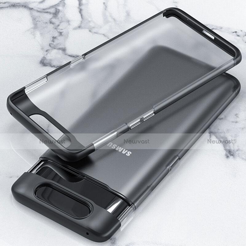 Transparent Crystal Hard Rigid Case Back Cover H02 for Samsung Galaxy A80 Black