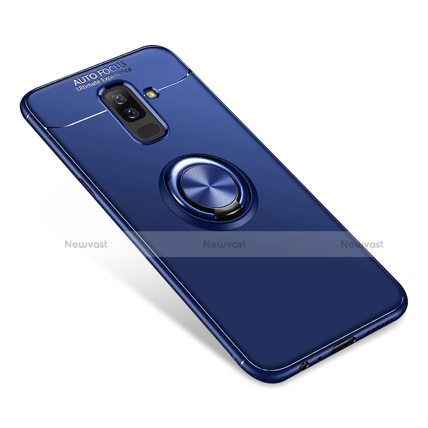 Ultra-thin Silicone Gel Soft Case Cover with Finger Ring Stand for Samsung Galaxy A6 Plus Blue