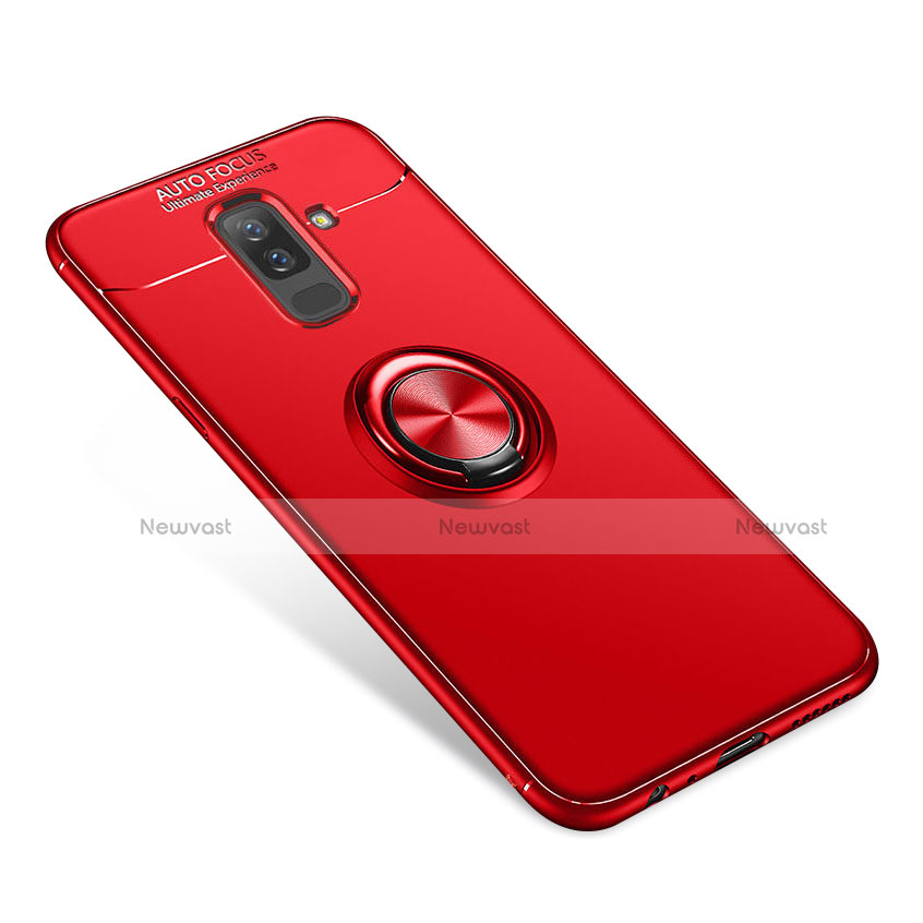 Ultra-thin Silicone Gel Soft Case Cover with Finger Ring Stand for Samsung Galaxy A6 Plus Red