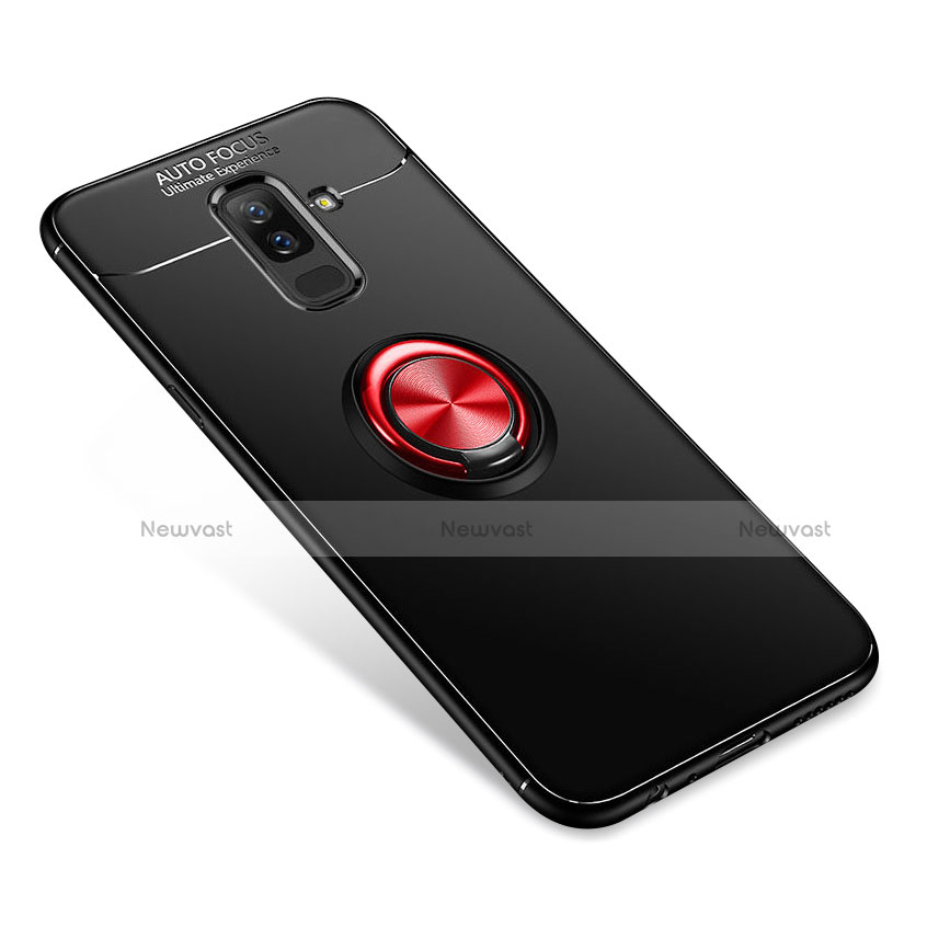 Ultra-thin Silicone Gel Soft Case Cover with Finger Ring Stand for Samsung Galaxy A6 Plus Red and Black