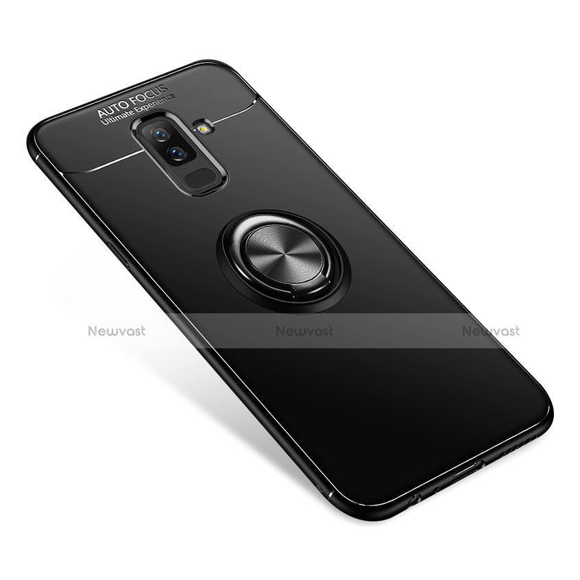 Ultra-thin Silicone Gel Soft Case Cover with Finger Ring Stand for Samsung Galaxy A9 Star Lite Black