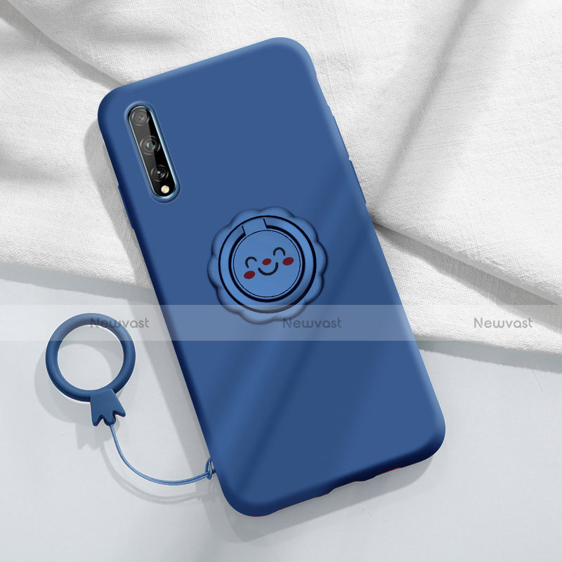 Ultra-thin Silicone Gel Soft Case Cover with Magnetic Finger Ring Stand A01 for Huawei Enjoy 10S