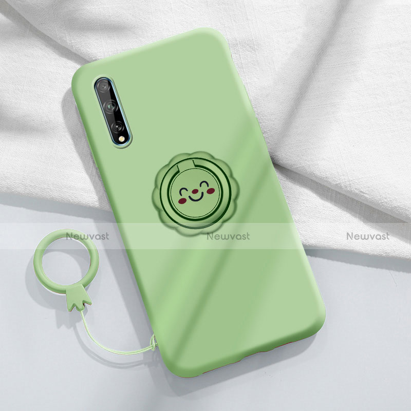 Ultra-thin Silicone Gel Soft Case Cover with Magnetic Finger Ring Stand A01 for Huawei Enjoy 10S Cyan