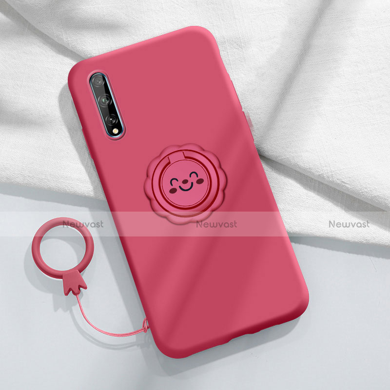 Ultra-thin Silicone Gel Soft Case Cover with Magnetic Finger Ring Stand A01 for Huawei Enjoy 10S Red Wine