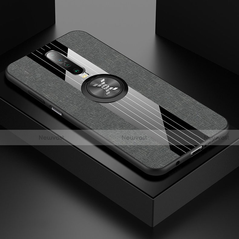 Ultra-thin Silicone Gel Soft Case Cover with Magnetic Finger Ring Stand A01 for Xiaomi Redmi K30 5G Gray