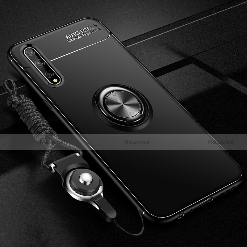 Ultra-thin Silicone Gel Soft Case Cover with Magnetic Finger Ring Stand for Huawei Enjoy 10S Black