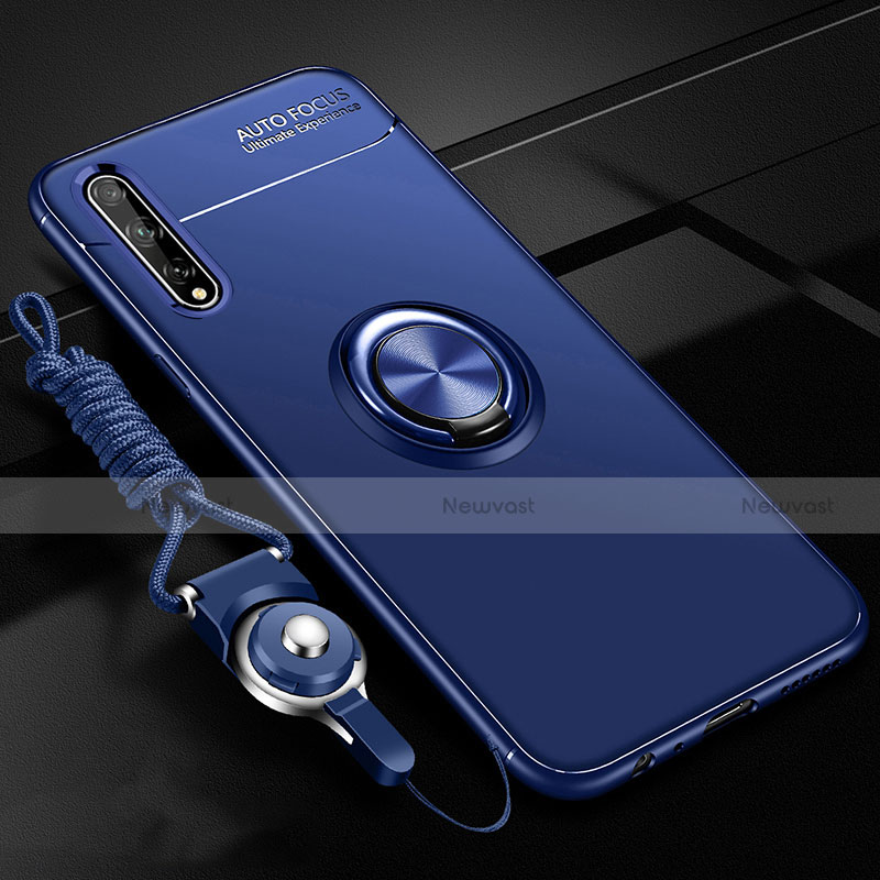 Ultra-thin Silicone Gel Soft Case Cover with Magnetic Finger Ring Stand for Huawei Enjoy 10S Blue