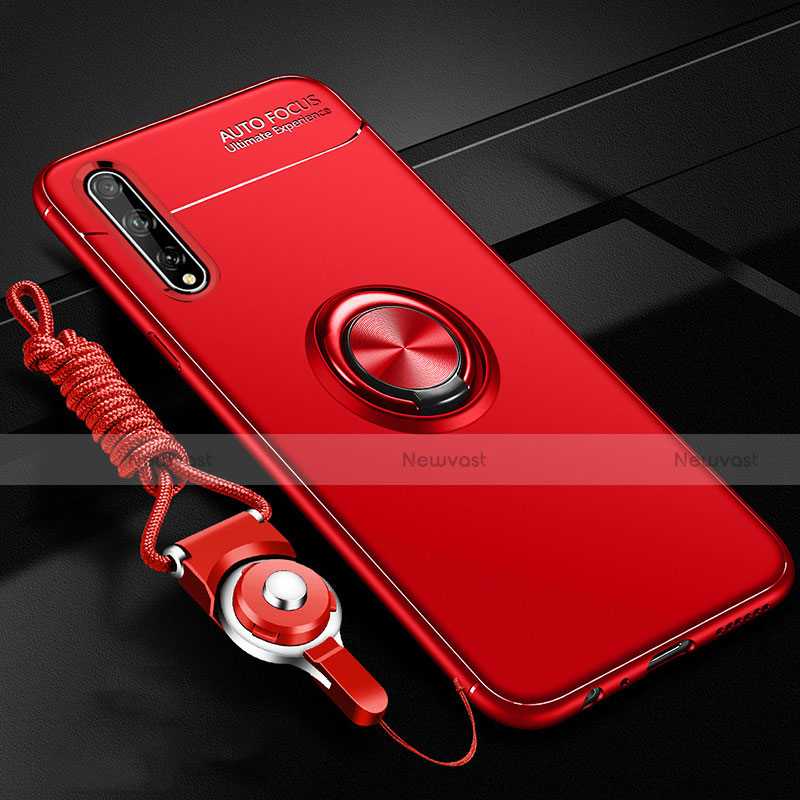 Ultra-thin Silicone Gel Soft Case Cover with Magnetic Finger Ring Stand for Huawei Enjoy 10S Red