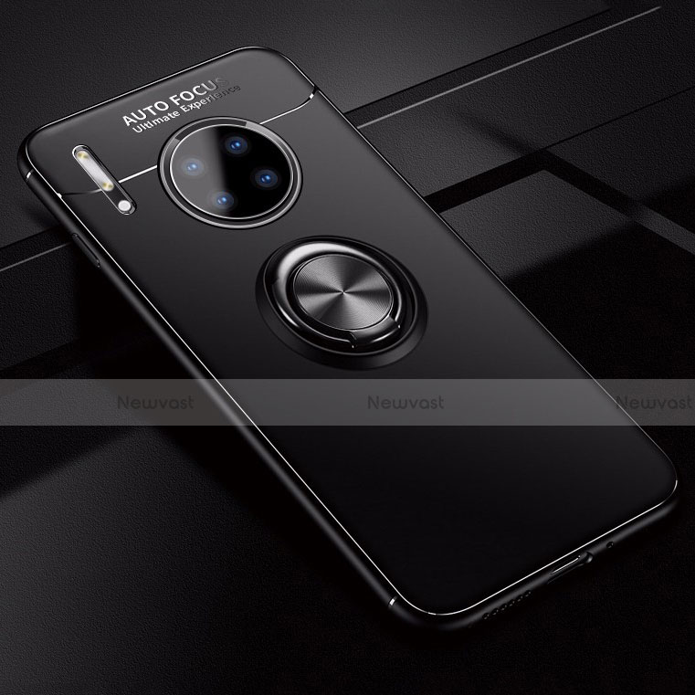 Ultra-thin Silicone Gel Soft Case Cover with Magnetic Finger Ring Stand for Huawei Mate 30 Pro 5G Black