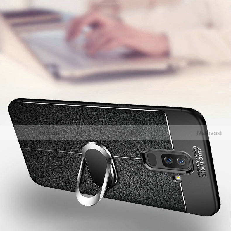 Ultra-thin Silicone Gel Soft Case Cover with Magnetic Finger Ring Stand for Samsung Galaxy A6 Plus