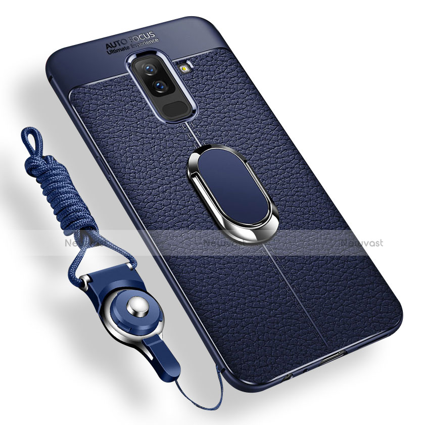 Ultra-thin Silicone Gel Soft Case Cover with Magnetic Finger Ring Stand for Samsung Galaxy A6 Plus Blue