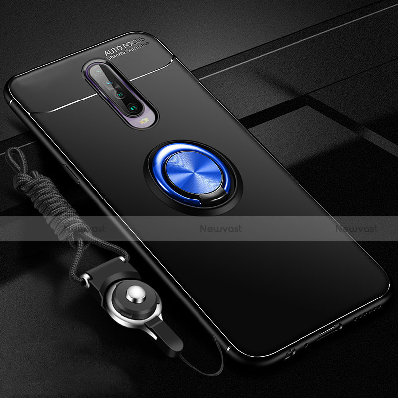 Ultra-thin Silicone Gel Soft Case Cover with Magnetic Finger Ring Stand for Xiaomi Redmi K30 5G Blue and Black