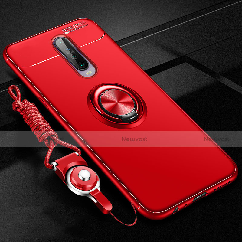 Ultra-thin Silicone Gel Soft Case Cover with Magnetic Finger Ring Stand for Xiaomi Redmi K30 5G Red