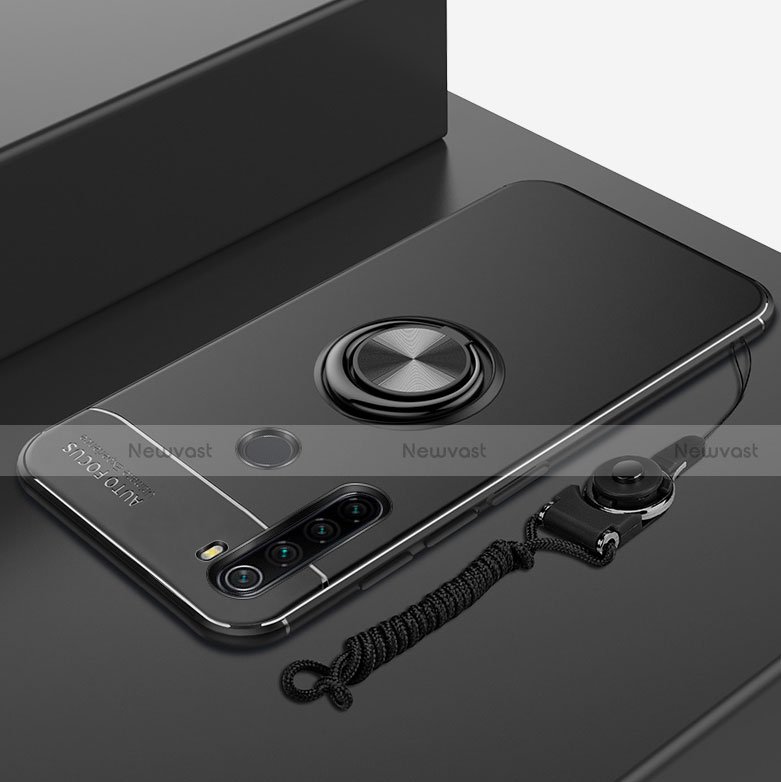 Ultra-thin Silicone Gel Soft Case Cover with Magnetic Finger Ring Stand for Xiaomi Redmi Note 8 Black