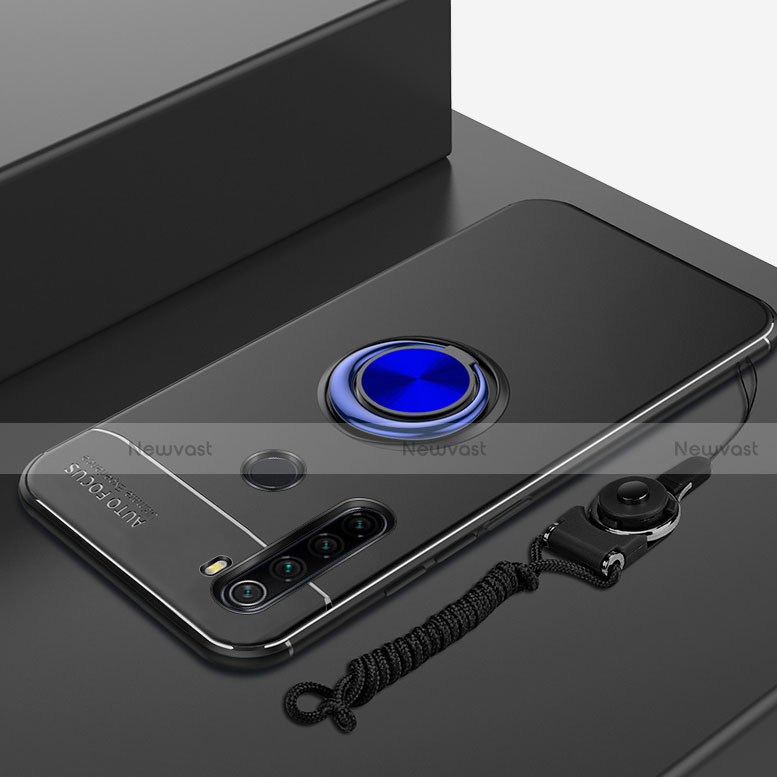 Ultra-thin Silicone Gel Soft Case Cover with Magnetic Finger Ring Stand for Xiaomi Redmi Note 8 Blue and Black