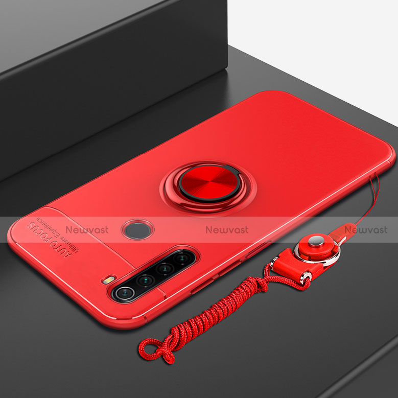 Ultra-thin Silicone Gel Soft Case Cover with Magnetic Finger Ring Stand for Xiaomi Redmi Note 8 Red