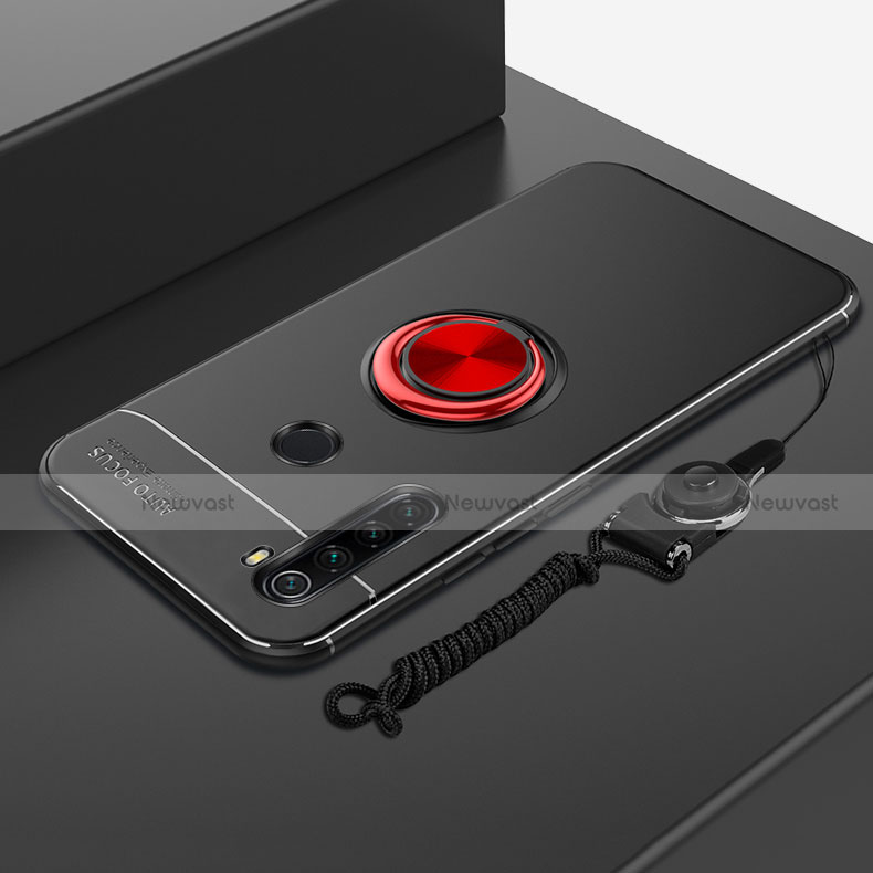 Ultra-thin Silicone Gel Soft Case Cover with Magnetic Finger Ring Stand for Xiaomi Redmi Note 8 Red and Black