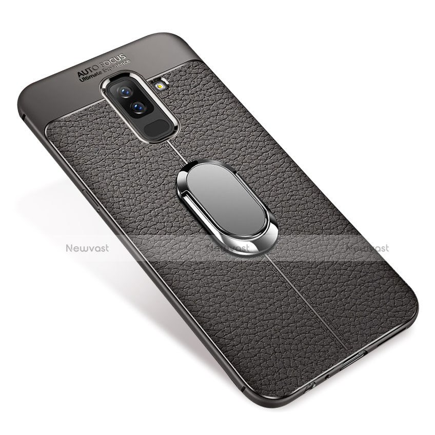 Ultra-thin Silicone Gel Soft Case Cover with Magnetic Finger Ring Stand S01 for Samsung Galaxy A6 Plus Gray