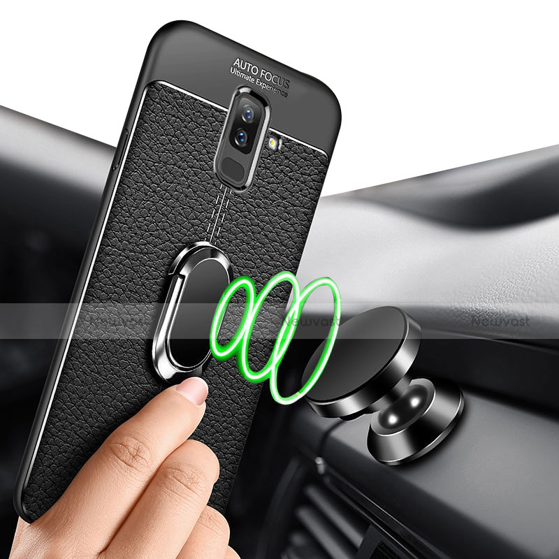 Ultra-thin Silicone Gel Soft Case Cover with Magnetic Finger Ring Stand S01 for Samsung Galaxy A9 Star Lite