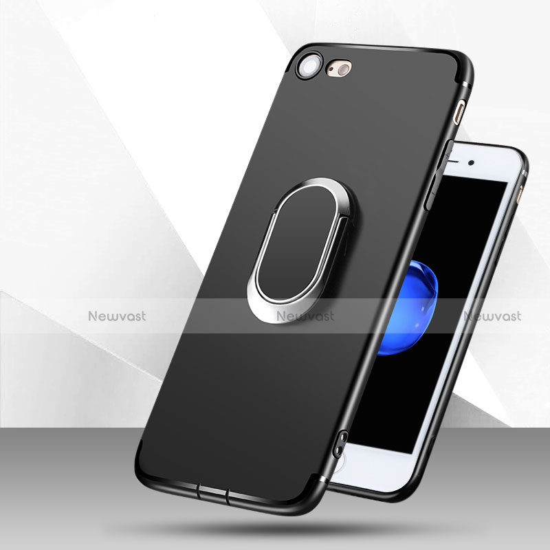 Ultra-thin Silicone Gel Soft Case with Finger Ring Stand for Apple iPhone SE (2020) Black