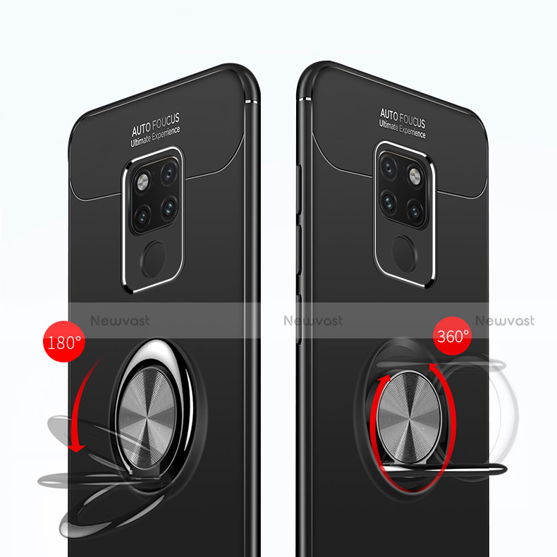 Ultra-thin Silicone Gel Soft Case with Magnetic Finger Ring Stand A02 for Huawei Mate 20 Black