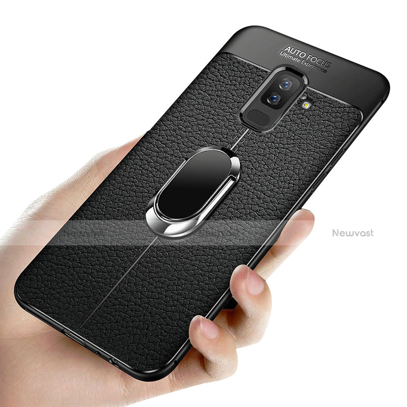 Ultra-thin Silicone Gel Soft Case with Magnetic Finger Ring Stand A02 for Samsung Galaxy A9 Star Lite Black