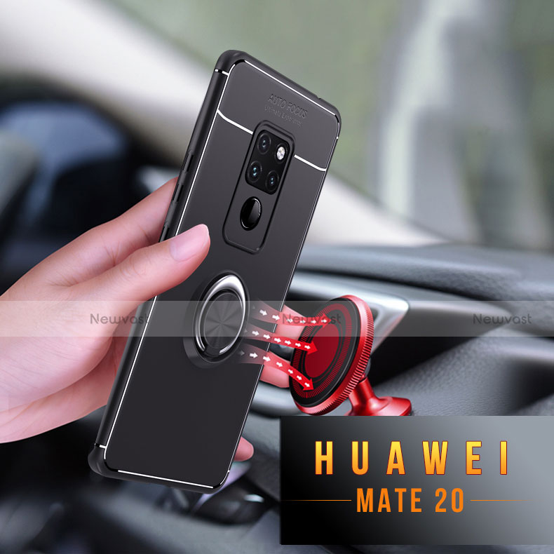 Ultra-thin Silicone Gel Soft Case with Magnetic Finger Ring Stand A03 for Huawei Mate 20 Black