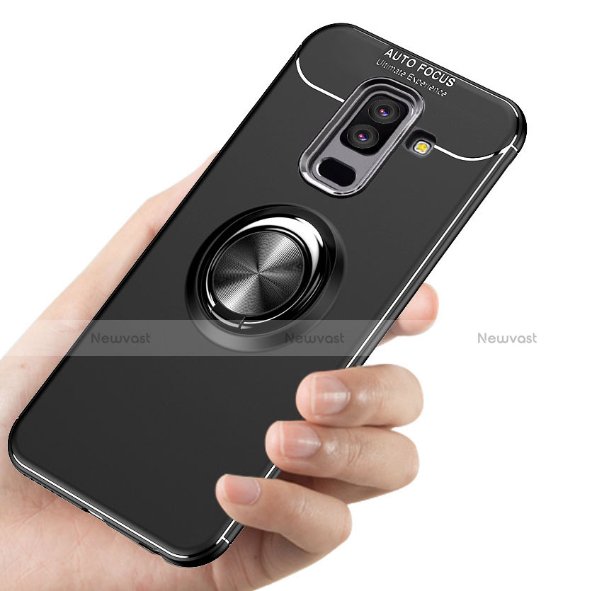 Ultra-thin Silicone Gel Soft Case with Magnetic Finger Ring Stand A03 for Samsung Galaxy A6 Plus Black