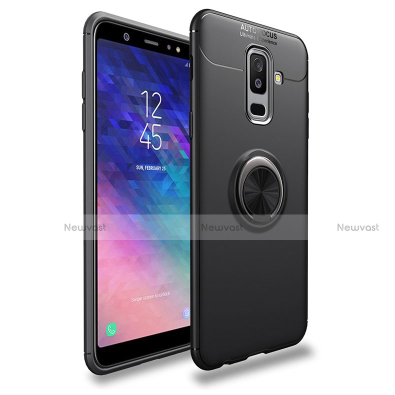 Ultra-thin Silicone Gel Soft Case with Magnetic Finger Ring Stand A03 for Samsung Galaxy A9 Star Lite Black