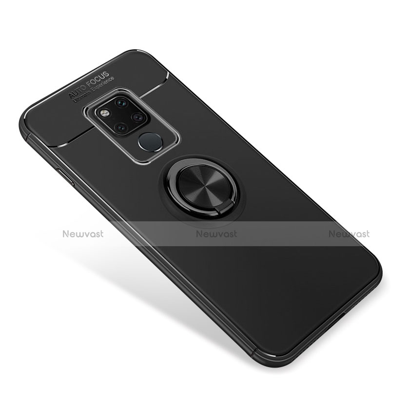 Ultra-thin Silicone Gel Soft Case with Magnetic Finger Ring Stand for Huawei Mate 20 Black