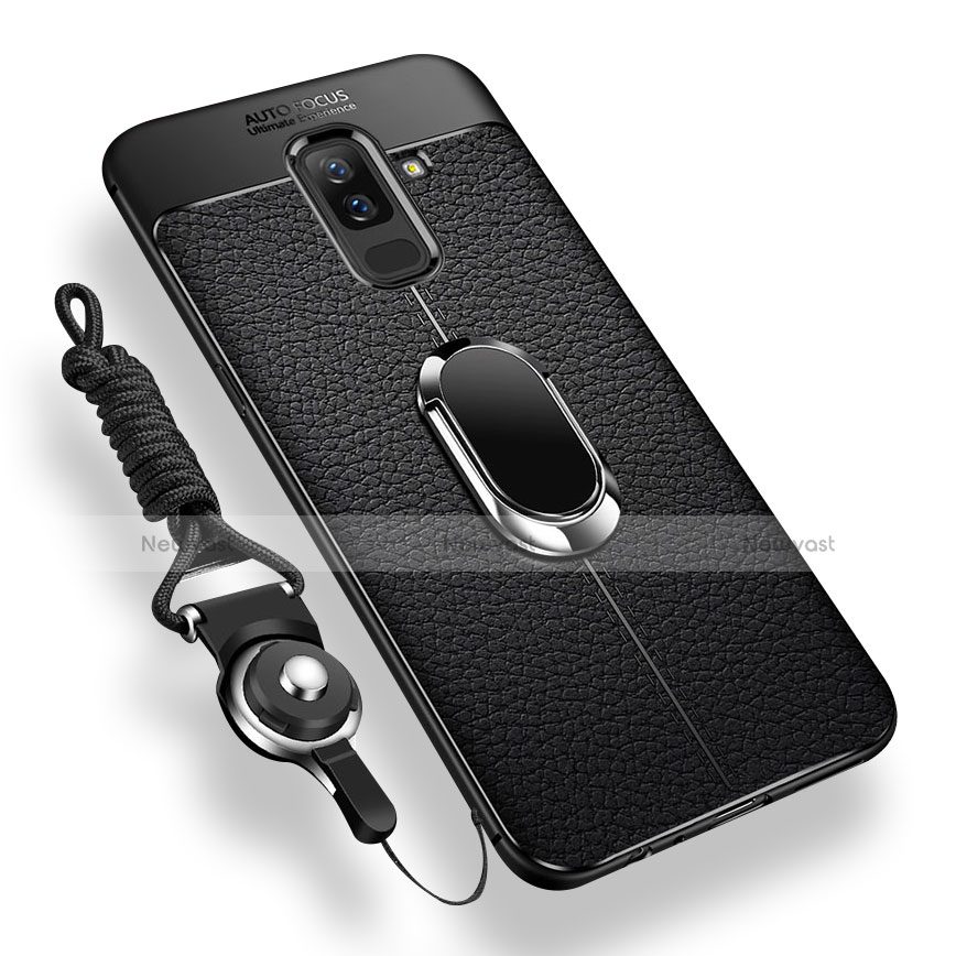 Ultra-thin Silicone Gel Soft Case with Magnetic Finger Ring Stand for Samsung Galaxy A9 Star Lite Black