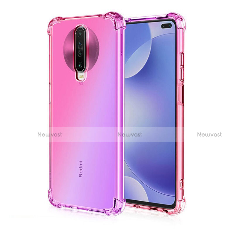 Ultra-thin Transparent Gel Gradient Soft Case Cover G01 for Xiaomi Redmi K30 5G Pink