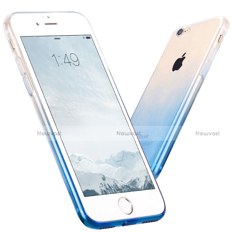 Ultra-thin Transparent Gel Gradient Soft Case for Apple iPhone SE (2020) Blue