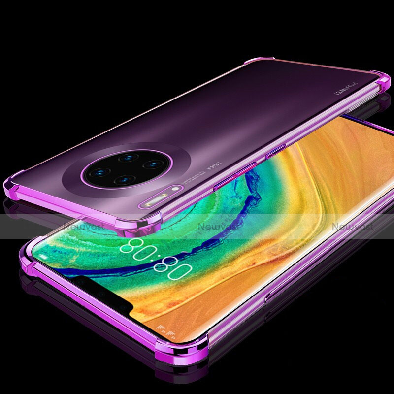 Ultra-thin Transparent TPU Soft Case Cover H04 for Huawei Mate 30 Pro 5G Purple