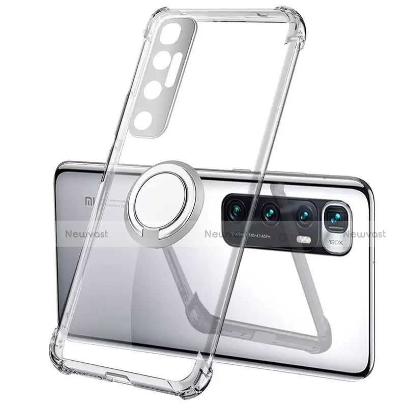 Ultra-thin Transparent TPU Soft Case Cover with Magnetic Finger Ring Stand S01 for Xiaomi Mi 10 Ultra