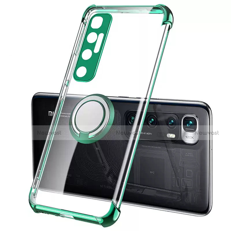 Ultra-thin Transparent TPU Soft Case Cover with Magnetic Finger Ring Stand S01 for Xiaomi Mi 10 Ultra Green