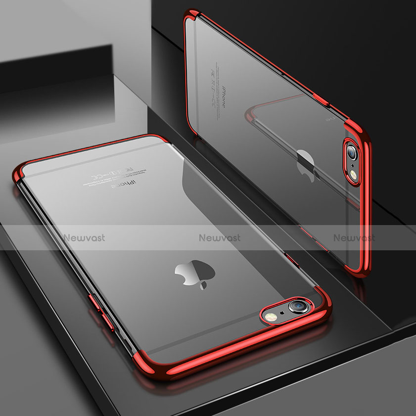 Ultra-thin Transparent TPU Soft Case H04 for Apple iPhone SE (2020) Red