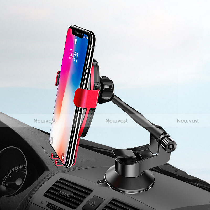 Universal Car Suction Cup Mount Cell Phone Holder Cradle H10 Red