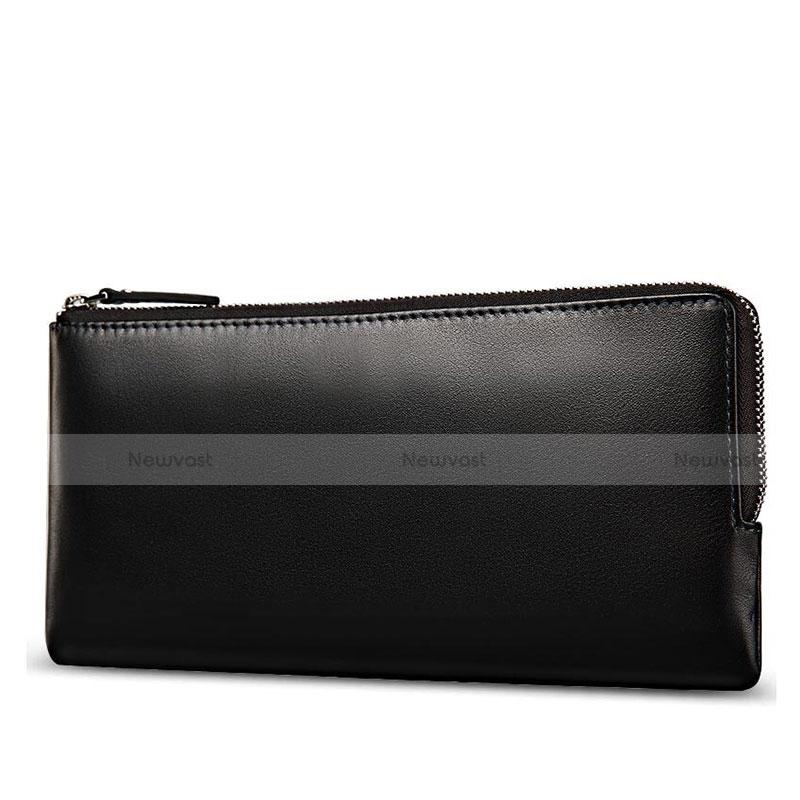 Universal Leather Wristlet Wallet Handbag Case H29 Black