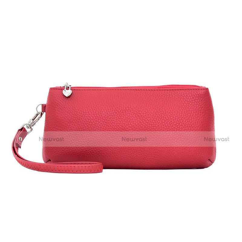 Universal Leather Wristlet Wallet Handbag Case K12 Red